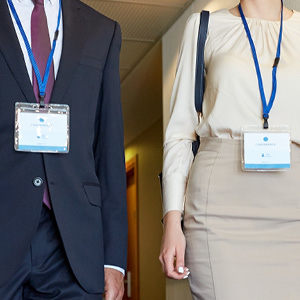 People wearing id badges and lanyards