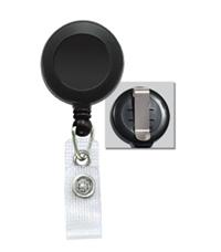 40006BK - Economy Round Badge Reel with Vinyl Strap and Slide Belt